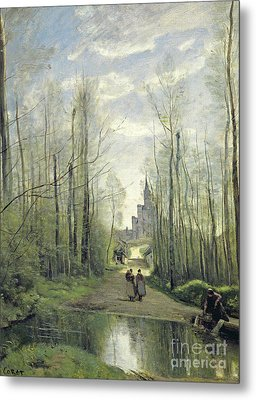 The Church At Marissel Metal Print by Jean Baptiste Camille Corot