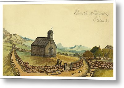 The Church At Thingvalla Iceland Circa 1862 Metal Print by Aged Pixel