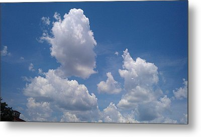 The Cloud Moustachioed Man And His Puppy Metal Print by Abhilasha Borse