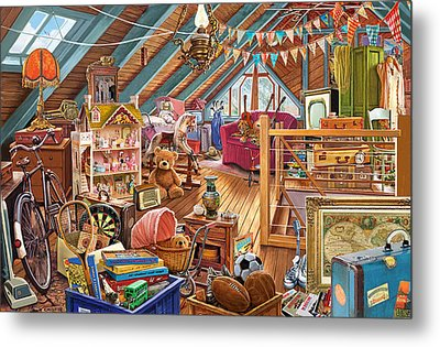 The Cluttered Attic  Metal Print by Steve Crisp