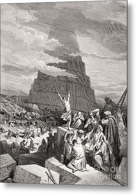 The Confusion Of Tongues Metal Print by Gustave Dore