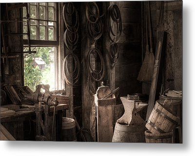 The Coopers Window - A Glimpse Into The Artisans Workshop Metal Print by Gary Heller