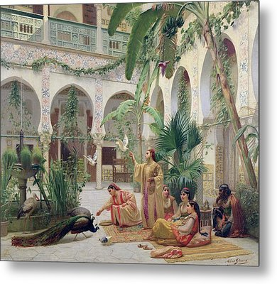 The Court Of The Harem Metal Print by Albert Girard