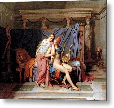 The Courtship Of Paris And Helen Metal Print by Jacques Louis David