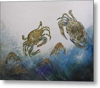 The Crabby Couple Metal Print by Nancy Gorr