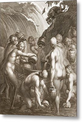 The Danaids Condemned To Fill Bored Metal Print by Bernard Picart