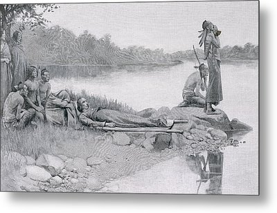The Death Of Indian Chief Alexander Metal Print by Howard Pyle