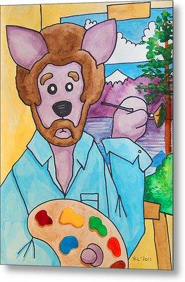 The Dingo Starring As Bob Ross Metal Print by Yvonne Lozano
