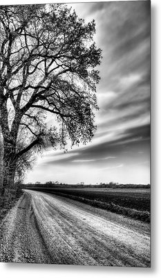 The Dirt Road In Black And White Metal Print by JC Findley