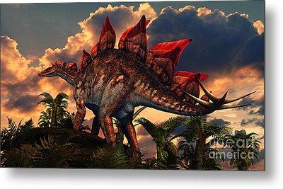 The Distinctive Shape Of Stegosaurus Metal Print by Philip Brownlow