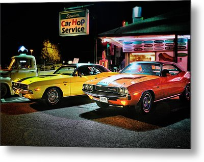 The Dodge Boys - Cruise Night At The Sycamore Metal Print by Thomas Schoeller