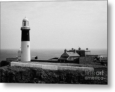 The East Light Lighthouse And Buildings Altacarry Altacorry Head Rathlin Island  Metal Print by Joe Fox
