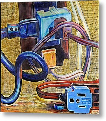 The Electronic Age Metal Print by JAXINE Cummins