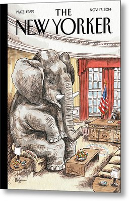 The Elephant In The Room Metal Print by Ricardo Liniers