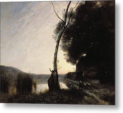 The Evening Star Metal Print by Jean Baptiste Camille Corot