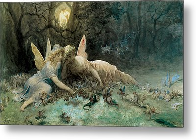 The Fairies From William Shakespeare Scene Metal Print by Gustave Dore
