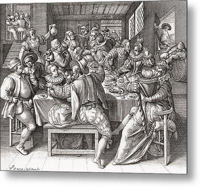 The Feast, After A 17th Century Engraving By N. De Bruyn.  From Illustrierte Sittengeschichte Vom Metal Print by Bridgeman Images