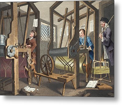 The Fellow Prentices At Their Looms Metal Print by William Hogarth