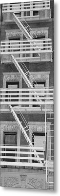 The Fire Escape In Black And White Metal Print by Rob Hans