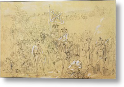 The First Virginia Cavalry At A Halt Metal Print by Alfred R Waud