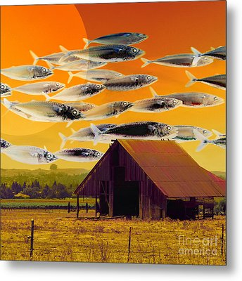 The Fish Farm 5d24404 Square Metal Print by Wingsdomain Art and Photography