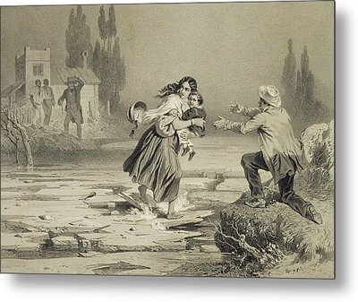 The Flight Of Eliza, Plate 3 From Uncle Metal Print by Adolphe Jean-Baptiste Bayot