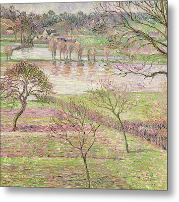 The Flood At Eragny Metal Print by Camille Pissarro