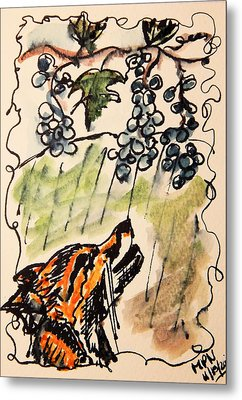 The Fox And The Grapes Metal Print by Mimulux patricia no