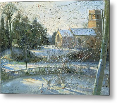 The Frozen Moat, Bedfield  Metal Print by Timothy Easton