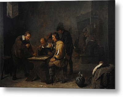 The Gamblers, C. 1640, By David Teniers The Younger 1610-1690 Metal Print by Bridgeman Images
