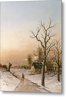 The Gamekeeper Going Home Metal Print by F Muller