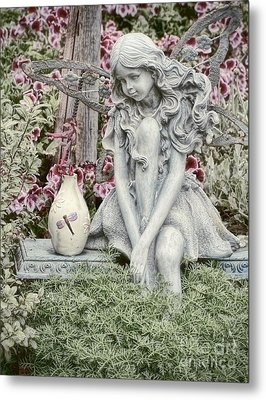 The Garden Fairy Metal Print by Peggy J Hughes