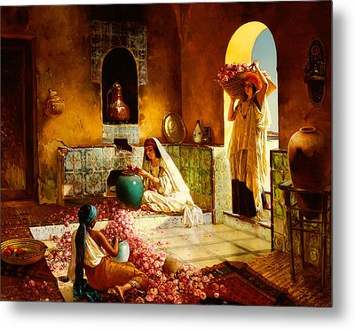 The Gathering Of The Roses Metal Print by Rudolphe Ernst