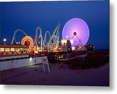 The Giant Wheel At Night  Metal Print by George Oze