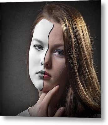 The Girl Behind The Mask Metal Print by Erik Brede