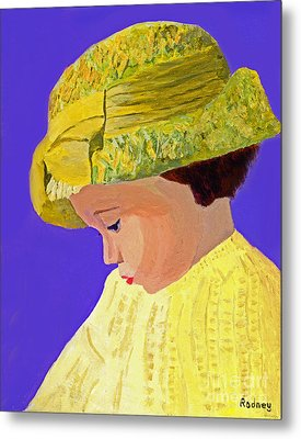 Metal Print featuring the painting The Girl With The Straw Hat by Rodney Campbell