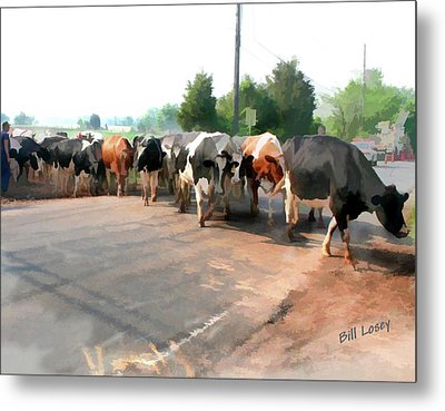 The Girls Crossing The Road Metal Print by Bill Losey