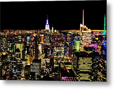 The Glow Of The New York City Skyline Metal Print by Dan Sproul