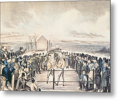 The Great Fight Between Tom Hyer And Yankee Sullivan Metal Print by James S Baillie
