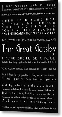 The Great Gatsby Quotes Metal Print by Georgia Fowler
