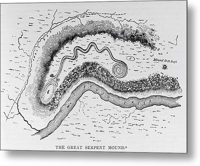 The Great Serpent Mound, Near Locust Grove, Ohio, Second Century Bc, From Narrative And Critical Metal Print by English School