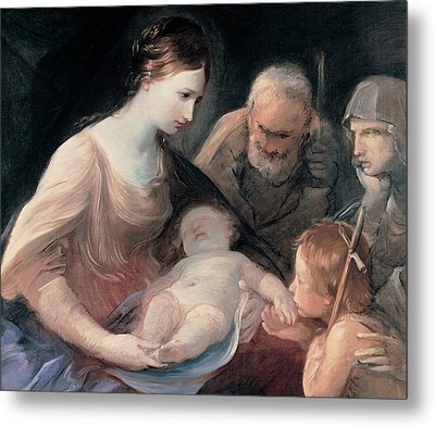 The Holy Family With St Elizabeth And St John The Baptist Metal Print by Guido Reni