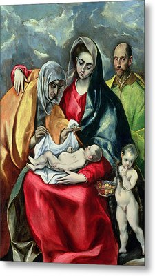The Holy Family With St Elizabeth Metal Print by El Greco Domenico Theotocopuli