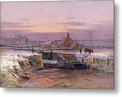 The House By The Canal Metal Print by Charles Brooke Branwhite