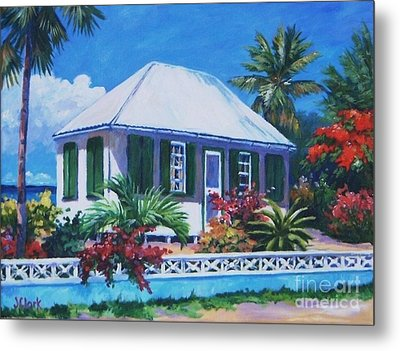 The House With Green Shutters Metal Print by John Clark