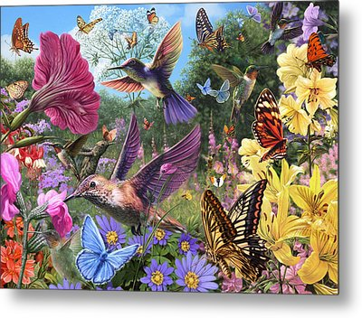The Hummingbird Garden Metal Print by Steve Read