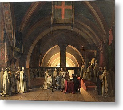 The Inauguration Of Jacques De Molay Into The Order Of Knights Templar In 1295 Oil On Canvas Metal Print by Francois-Marius Granet