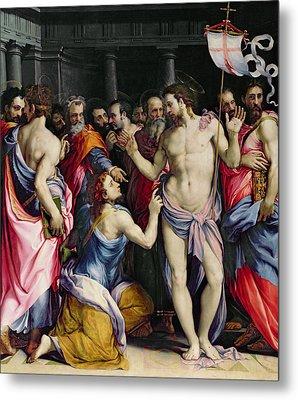 The Incredulity Of Saint Thomas Metal Print by Francesco de Rossi Salviati Cecchino