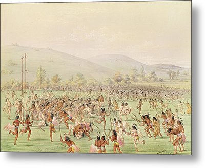 The Indian Ball Game, C.1832 Colour Litho Metal Print by George Catlin