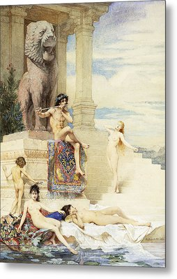The Ivory Flute Metal Print by Guillaume Dubufe